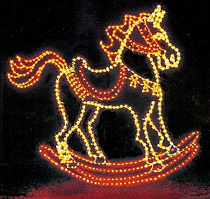 Our 14 foot rocking horse is a tradition at Memory Lane Light Display & Pleasant Ridge Farm in Ranoul, Kansas.
